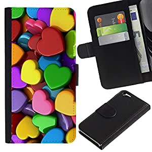 For Apple Apple iPhone 6(4.7 inches),S-type® Colorful Hearts Green Yellow Red Pink - Dibujo PU billetera de cuero Funda Case Caso de la piel de la bolsa protectora