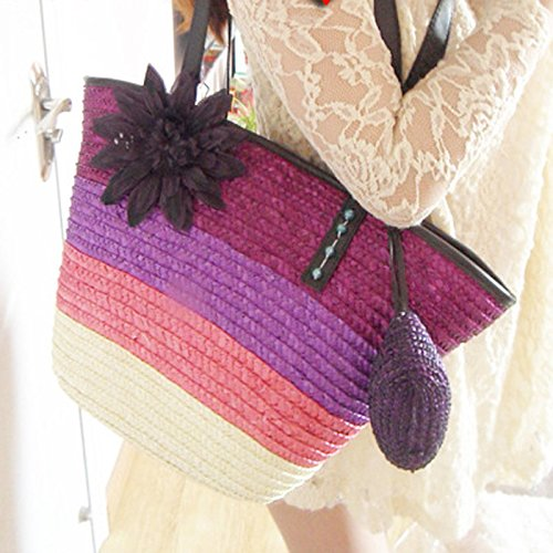 Rainbow Flower Fashion Beach Straw Sea DELEY Holiday Handbag Shoulder Purple Totes Women Summer Bag xwtx6H