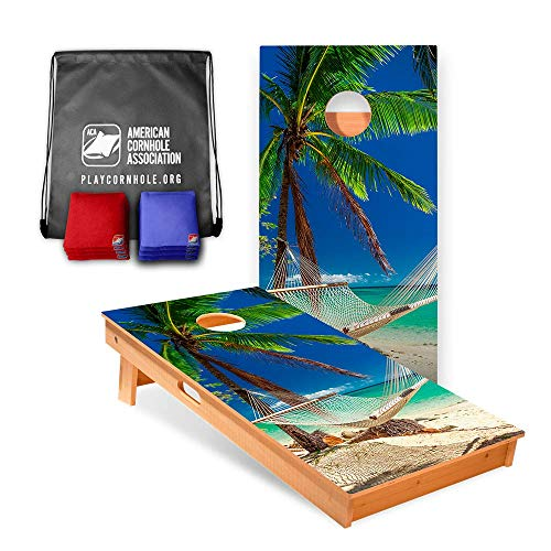 Official Cornhole Boards & Bags Set - American Cornhole Association - Tropical Design - Heavy Duty Wood Construction - Regulation Size Bean Bag Toss for Adults, Kids - Lawn, Tailgate, Camping