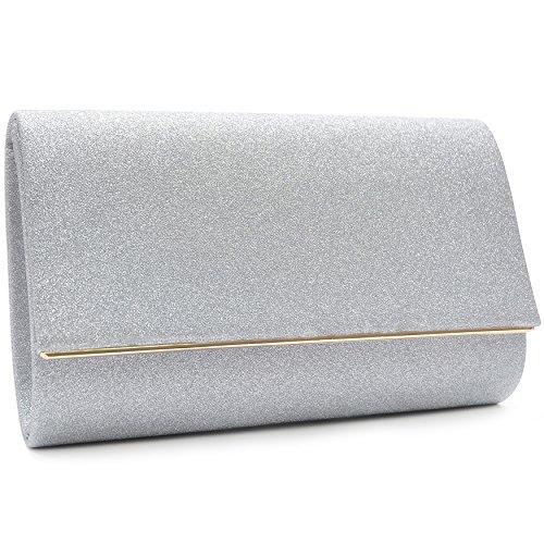 Vain Secrets Damen Umhänge Tasche Clutch Abendtasche vielen Farben Silber Strass UVouO0X1