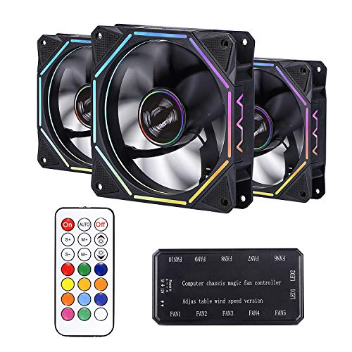 【Upgraded Version】 Wireless RGB Case Fans 120mm 3 Pack, 366 Modes with Controller and Remote, Quiet Edition High Airflow Adjustable Color LED Case Fan for PC Cases, CPU Coolers, Radiators System (Pc Case Side Fan Intake Or Exhaust)