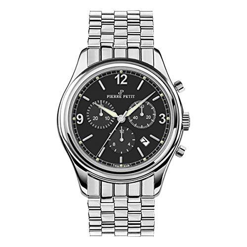 Pierre Petit P-836C Swiss Chronograph Bracelet Watch w/Date - Silver