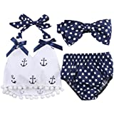 Fancidy Baby Girls Sailor Outfit Set Polka Dot Tops + Briefs+ Headband
