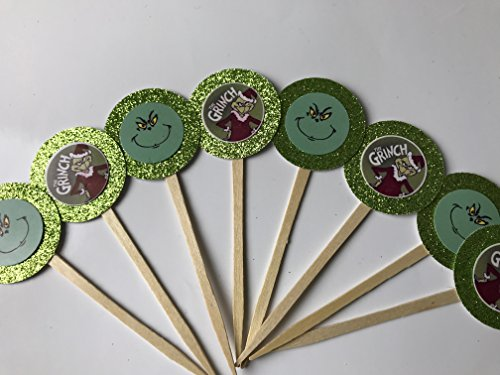 8 New Green Grinch who stole Christmas Cupcake Toppers Halloween Dr. Seuss Suess Birthday Party Supplies Cat in the Hat whoville Grinch Christmas Party