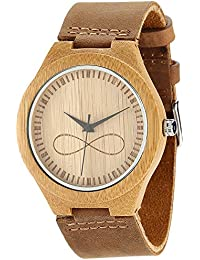 WONBEE Bamboo Wood Watches Infinity Sign Design with Cowhide Leather Strap Unisex,Bonus 2 Wooden Bead Bracelets