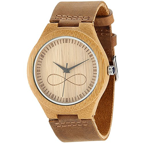 WONBEE Bamboo Wood Watches Infinity Design with Cowhide Leather Strap Unisex WONBEE Bamboo Wood Watches Skull...