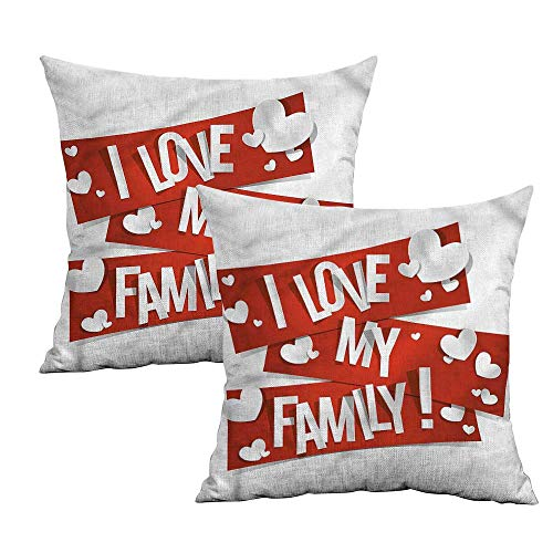 Khaki home Family Square Funny Pillowcase Family Love Heart Square Throw Pillow Covers Cushion Cases Pillowcases for Sofa Bedroom Car W 24