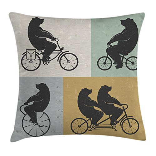 Ambesonne Vintage Decor Throw Pillow Cushion Cover by, Big Cute Bear on a Bike Bicycle Cycling Hipster Circus Life Outdoor Animal Enjoy, Decorative Square Accent Pillow Case, 18 X 18 Inches, Multi