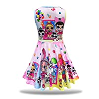 MagJazzy Little Girls Casual Dress Sleeveless Digital Printing Pageant Party Birthday Dress for Doll Surprised