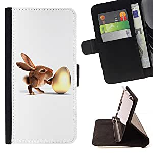 For LG G2 D800 Bunny & Egg Beautiful Print Wallet Leather Case Cover With Credit Card Slots And Stand Function