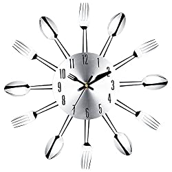 Large 3D Wall Clock Modern Design Stainless Steel Kitchen Wall Watch Quality Quartz Needle Clock Home Decoration^.