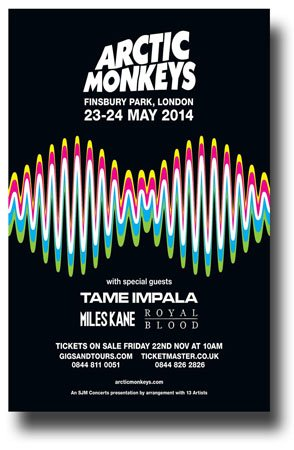 - Arctic Monkeys Poster - Concert Promo 11 x 17 w/ Tame Impala and Royal Blood