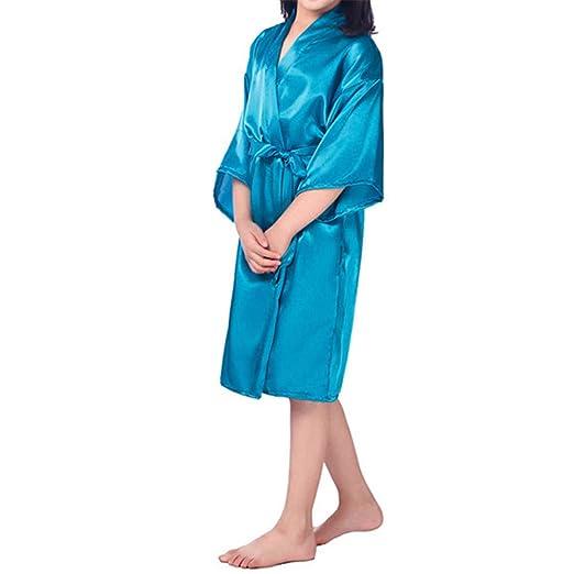 GODGETS Flower Girls Raso Kimono túnicas Boda Dama de Honor Batas Albornoz para niños Ropa de Dormir camisón: Amazon.es: Ropa y accesorios