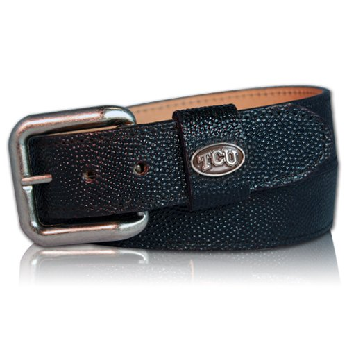 TCU Horned Frog Football Leather Belt - ()