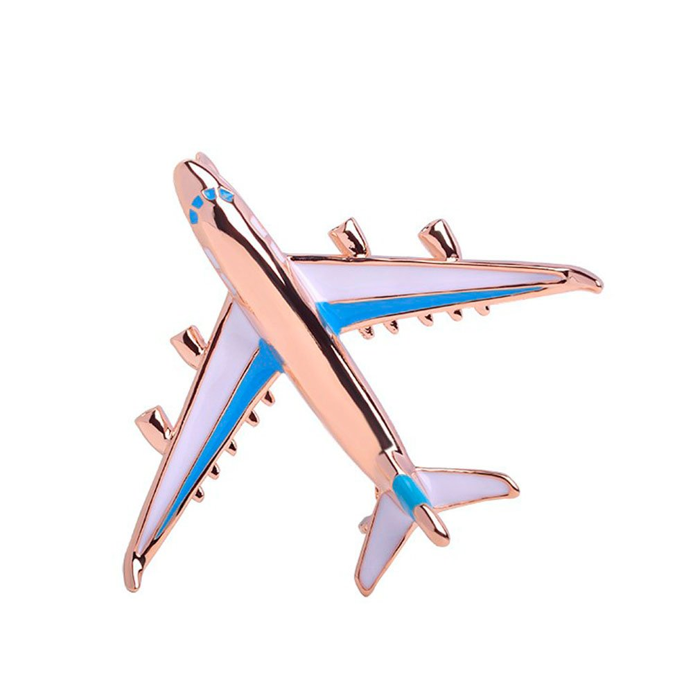 RUXIANG Colorful Enamel Airplane Brooch Fighter Aircraft Model Clothes Jewelry (blue)
