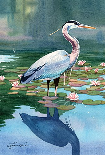 Toland Home Garden Reflecting Heron 28 x 40 Inch Decorative Bird Water Lily Pad Pond Flower House Flag (Feather Decorative Flags)