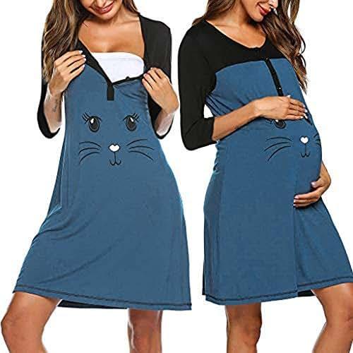 baskuwish Nursing Nightgown Nightdress Hospital Gown Delivery/Labor/Maternity/Pregnancy Soft Breastfeeding Dress