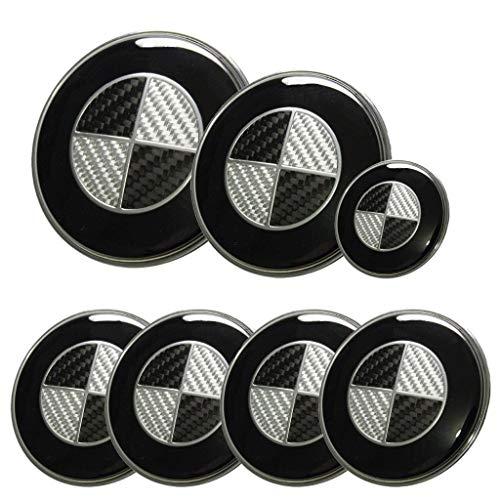 And Logo Black White (New Set 7pcs Black White Carbon Round Emblems 82mm+73mm+68mm+44mm Replacement Logo Design Emblem Compatible Fit For Car Model E30 E36 E34 E60 E65 E38 X3 X5 X6 3 4 5 6 7 8 Series)