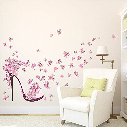 (BIBITIME High-heeled Shoes Wall Art Valentine's Day Heart Butterfly Wall Sticker for Women Bedroom Living Room Background PVC Decorations Kids Room Decor Art Mural)