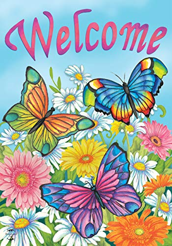 (Briarwood Lane Spring Butterflies Welcome House Flag Floral 28