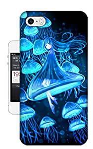 Fashion Element Blue Jellyfish Girl TPU Hard Phone Case for Iphone 5 5s