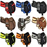 Y&Z Enterprises Pony Child Youth Synthetic Treeless Freemax English Multicolors & Multisize Available Horse Saddle + Get 1 Matching Girth with Leather Stirrup