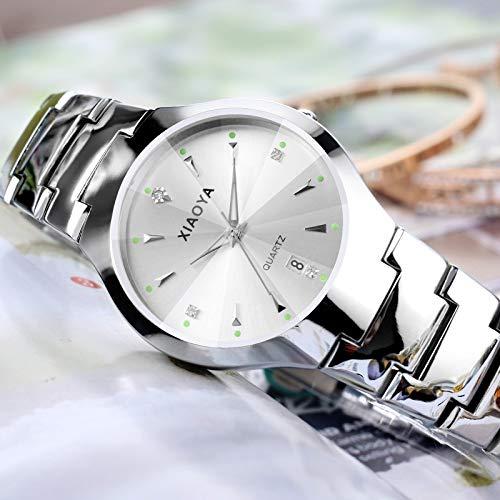(Tungsten Steel Waterproof Watch Students Luminous Electronic Unique Steel Quartz Watch Men Women Couple Lover (Silver with Flour Male Style (Send Split Hands))