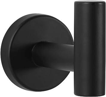 Negro Toallero de Acero Inoxidable en Negro Cuarto de Ba/ño Soporte de Gancho para Toalla Gancho Adhesivo para Ropa Ambrosya Acero Inoxidable