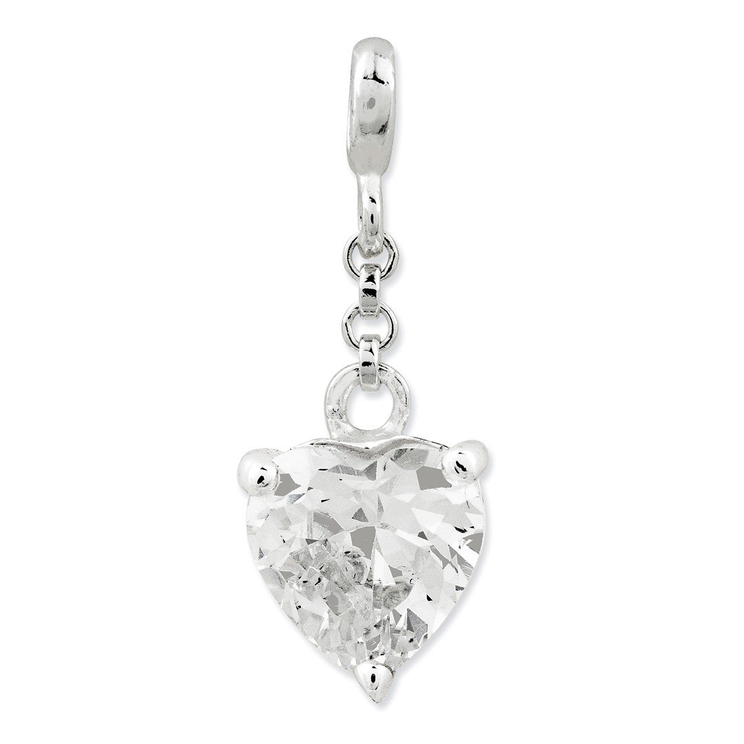 ICE CARATS 925 Sterling Silver Clear Cubic Zirconia Cz Heart 1/2in Dangle Enhancer Necklace Pendant Charm Love Fine Jewelry Ideal Gifts For Women Gift Set From Heart