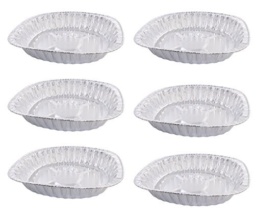 [Pack of 6 Disposable Aluminum Foil Roasting Pans, Oval Shape, Extra Large Size, 3-1/4