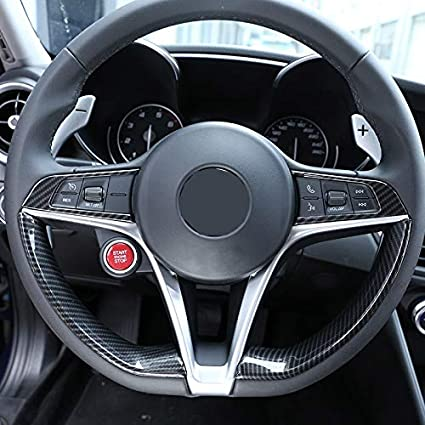 Lopbinte 2 Pezzi in Fibra di Carbonio Stile per Alfa Romeo Giulia Stelvio 2016 2017 2018 ABS Cromato Volante Decorazione Cornice Trim Accessori