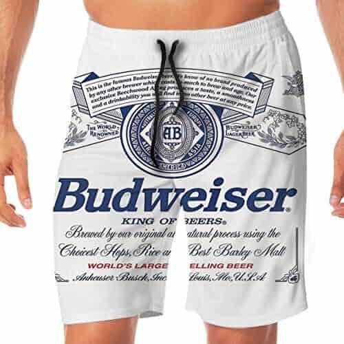 838205568b27d Budweiser Beer Men's Summer Holiday Quick-Drying Swim Trunks Beach Shorts  Board Shorts