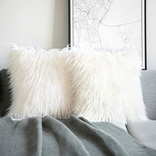 Phantoscope Pack of 2 Luxury Series Throw Pillow Covers Faux Fur Mongolian Style Plush Cushion Case for Couch Bed and Chair, Off White 18 x 18 inches 45 x 45 cm (Living Room Pillow)