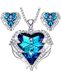 Angel Wing Swarovski Jewelry Set Women Jewelry 18K White Gold Plated Crystals Heart Pendant Necklace Earrings...