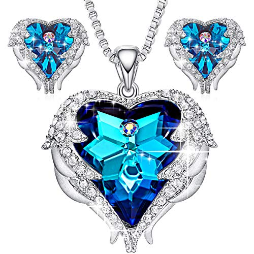 CDE Angel Wing Heart Necklaces and Earrings Embellished with Crystals from Swarovski 18K White Gold Plated Jewelry Set Gifts for Women ()