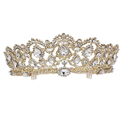 Gold Crystal Crown (Frcolor Crystal Rhinestone Tiara Crown with Side Comb for Wedding Bridal Party (Gold))
