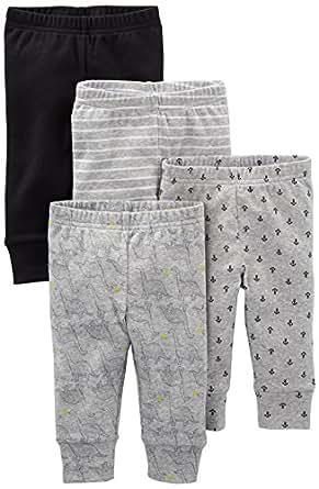Simple Joys by Carter's Baby Boys' 4-Pack Pant, Black/Gray/Dino/Anchor, Preemie