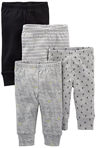 Simple Joys by Carter's Baby Boys' 4-Pack Pant, Black/Gray/Dino/Anchor, 12 Months