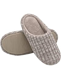 Women's Cotton Knit Memory Foam Slippers Terry Cloth Anti Skid Indoor/Outdoor Slip-on House Shoes