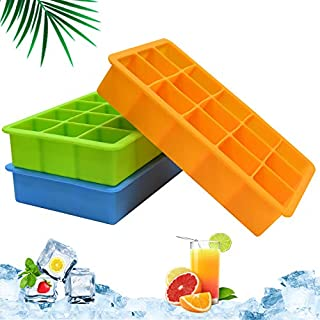 Ice Cube Trays 3 Pack, Silicone Ice Tray Easy Release Flexible 15 Ice Cube Molds, Freezer Ice Trays Stackable for Whiskey, Baby Food, BPA Free