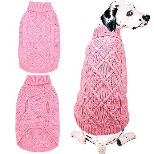 Mihachi Dog Sweater - Winter Coat Apparel Classic Cable Knit Clothes for Cold Winter,Pink,M
