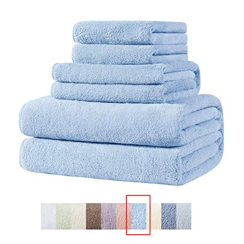 Super Soft Plush Highly-Absorbent Premium Family Microfiber Quick-Dry Towel Sets, 1 Bath Towel 1 Hand Towel and 2 Washcloths, Clearance Set-Blue