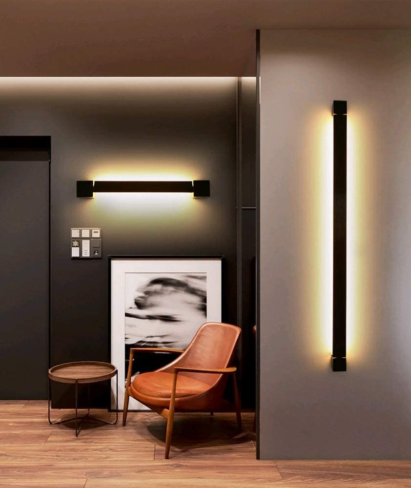 PINCHU LED Wandleuchte,Innen Modern Up Down Wandlampe aus Aluminium,350 /° drehbare Wandleuchte,F/ür Wohnzimmer Schlafzimmer Treppenhaus Flur Warmwei/ß Schwarz, 60CM