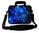 AUPET 16 16.5' 17'-17.3-Inch Water Resistant Neoprene Sleeve Notebook Neoprene Messenger Case Tote Bag with Outside Handle and Adjustable Shoulder Strap & Extra Pocket( Nice Starry Sky)