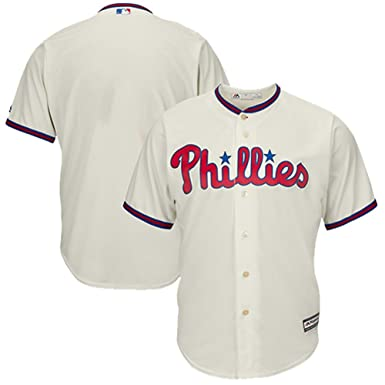 757727cc20c Outerstuff Philadelphia Phillies Word Mark Cream Youth Cool Base Alternate  Replica Jersey (Small 8)