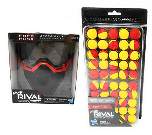 Nerf Rival Face Mask and 50 Round Refill Pack Bundle, Red