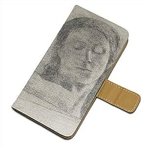 Odilon Redon - Closed Eyes, Diseñado Negro Carcasa Funda de Piel Cuero Leather Flip Magnética Case Wallet Pouch Caso con Diseño Colorido para Samsung Galaxy S6 G9200.