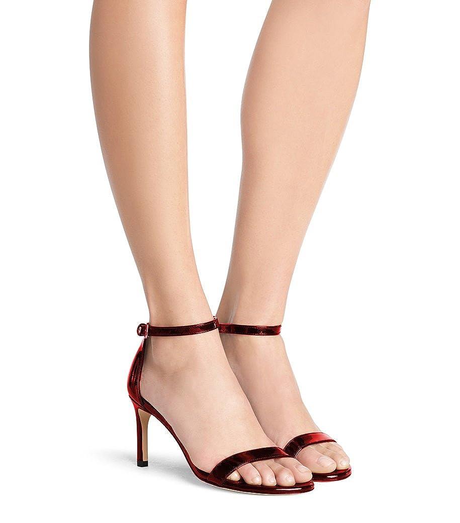 Lutalica Damen 10cm Knöchelriemen Schnalle Stiletto High Heel Hochzeit Hochzeit Heel Sommer Sandalen Schuhe Burgund Patent 22fc80