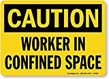 """Worker In Confined Space, HDPE Plastic Sign, 14"""" x 10"""""""