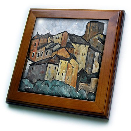 3dRose ft/_52279/_1 Vintage 1913 San Gimignano 8 by 8-Inch Italy Painting by Alexander Kanoldt-Framed Tile